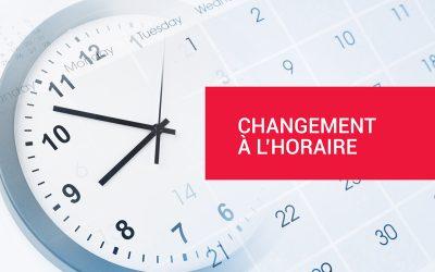 Changement à l'horaire – Cours annulés (24 au 26 novembre)