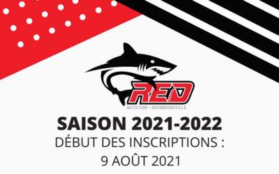 Début des inscriptions, saison 2021-2022!